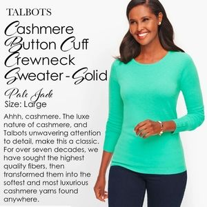 Talbots Cashmere Button Cuff Pale Jade Sweater